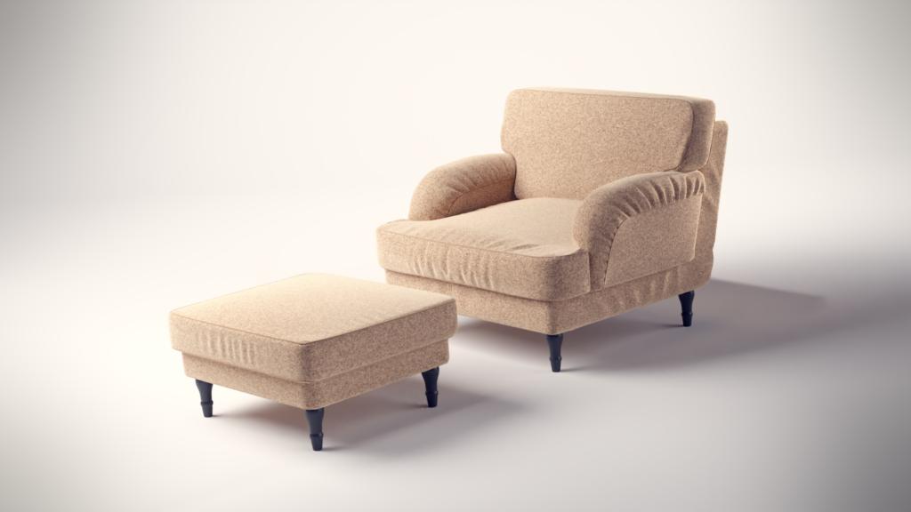 3D Produktvisualisierung eines Sessels wie man ihn bei Ikea finden würde, gerendert mit Blender