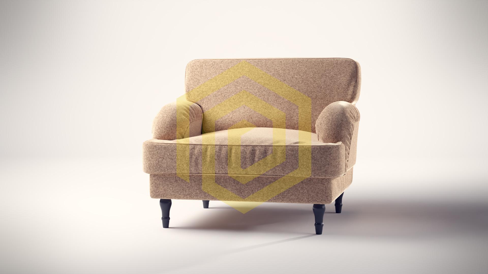 3D Produktvisualisierung mit einem Sessel mit einer, wie man es bei Ikea finden würde, gerendert mit blender Cycles