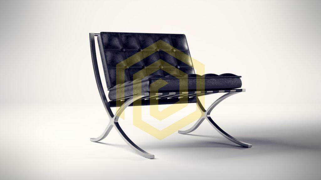 Whiteroom Rendering eines stilvollen Sessels in Leder-Optik mit Blickrichtung nach rechts