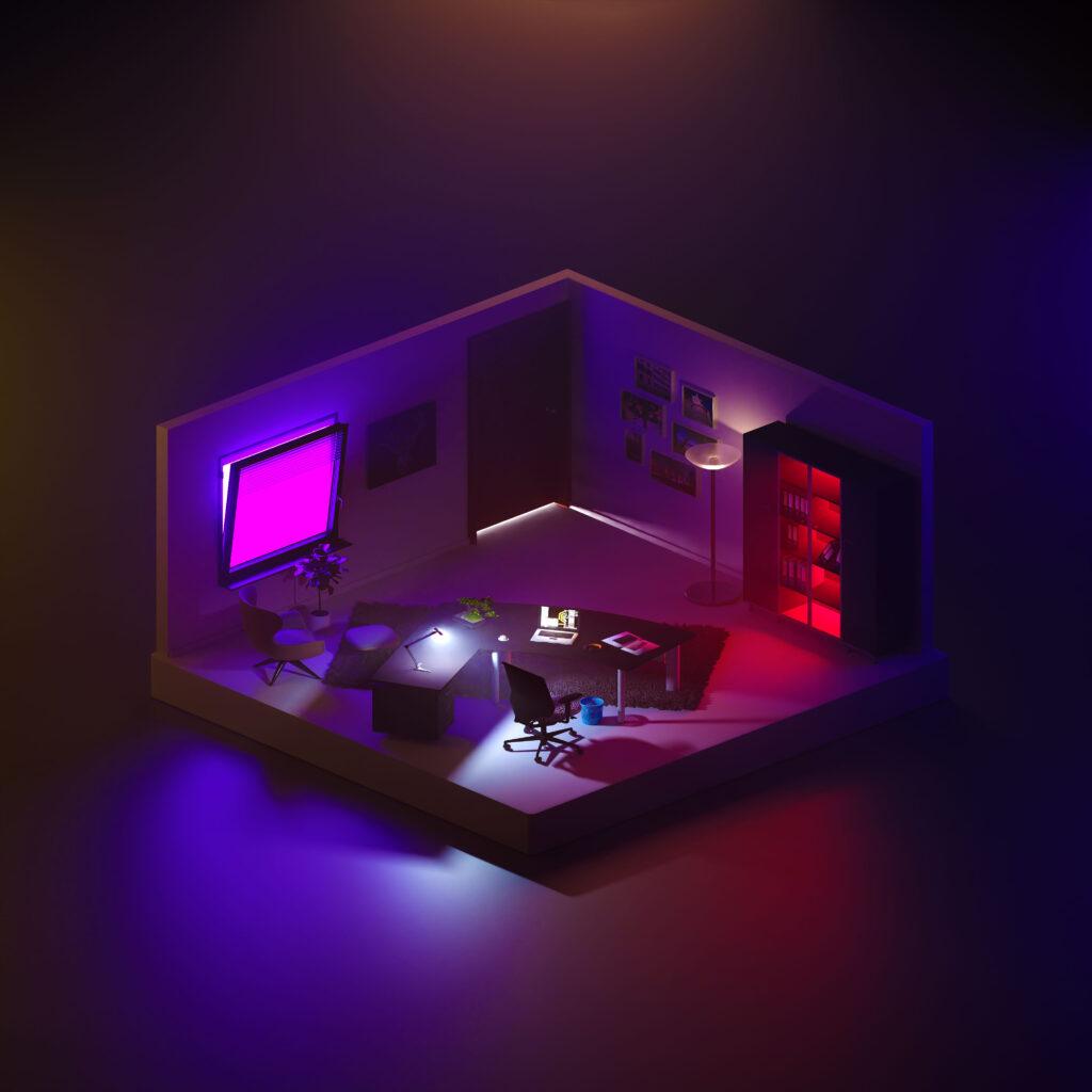 Isometrische 3D Visualisierung eines Büros, mit Lila und roter Beleuchtung. Das Gebäude ist halb geöffnet und hat einen Teppich auf dem Boden.
